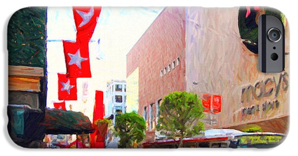 Stockton iPhone Cases - Christmas at Macys in San Francisco . Photoart iPhone Case by Wingsdomain Art and Photography