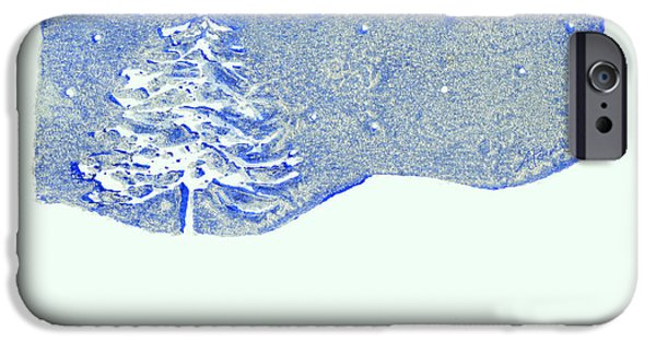 Snow Scene Mixed Media iPhone Cases - Christmas Card 2 iPhone Case by Ann Powell
