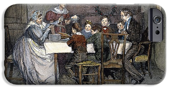 19th Century Drawings iPhone Cases - Christmas Carol iPhone Case by Granger