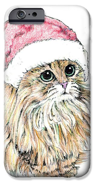 Kobe Drawings iPhone Cases - Christmas Cat iPhone Case by Takahiro Yamada