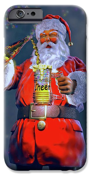 Santa Sculptures iPhone Cases - Christmas Cheer IV iPhone Case by Dave Luebbert