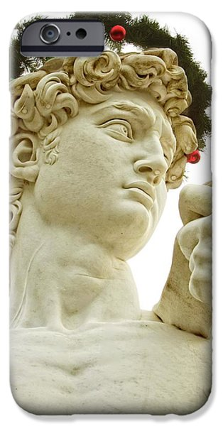 Statue Portrait iPhone Cases - Christmas David iPhone Case by Alice Gipson
