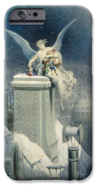 Watercolors Paintings iPhone Cases - Christmas Eve iPhone Case by Gustave Dore
