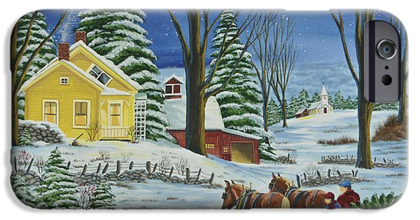 Christmas Eve Paintings iPhone Cases - Christmas Eve In The Country iPhone Case by Charlotte Blanchard