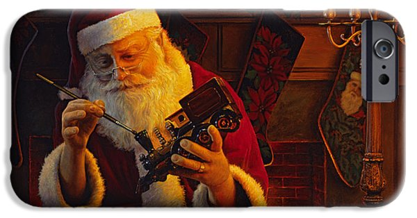 Santa iPhone Cases - Christmas Eve Touch Up iPhone Case by Greg Olsen