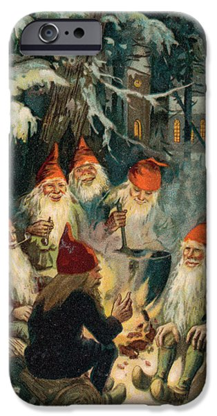 Pines Drawings iPhone Cases - Christmas Gnomes iPhone Case by English School