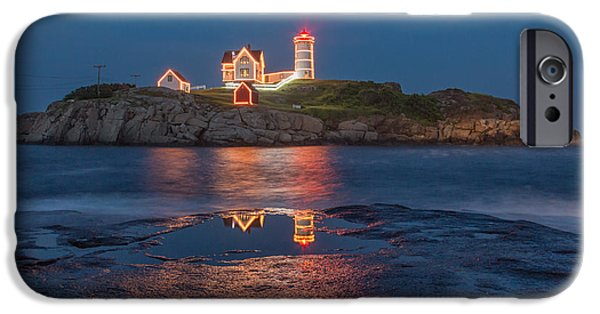 Nubble Lighthouse iPhone Cases - Christmas in July iPhone Case by Stephen Beckwith