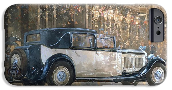 Old Cars iPhone Cases - Christmas Lights and 8 litre Bentley iPhone Case by Peter Miller