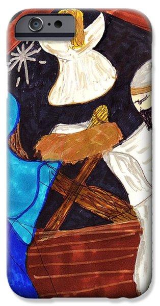 Night Angel iPhone Cases - Christmas Night iPhone Case by Elinor Rakowski