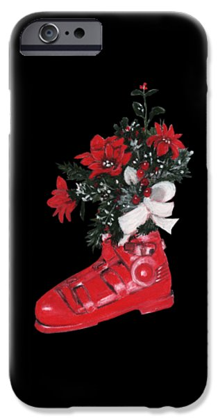 Office Pastels iPhone Cases - Christmas Ski Boot iPhone Case by Anastasiya Malakhova