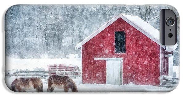 Winter Storm Digital iPhone Cases - Christmas Snowstorm Vermont Watercolor iPhone Case by Edward Fielding