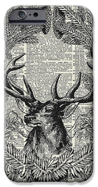 Santa Drawings iPhone Cases - Christmas Stag iPhone Case by Jacob Kuch