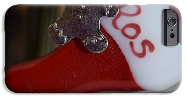 Christmas Glass Art iPhone Cases - Christmas Stocking iPhone Case by Rosalind Duffy