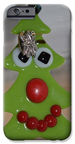Christmas Glass Art iPhone Cases - Christmas Tree Decoration iPhone Case by Rosalind Duffy