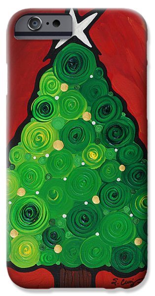 Abtracts iPhone Cases - Christmas Tree Twinkle iPhone Case by Sharon Cummings