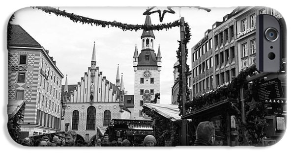 Marienplatz iPhone Cases - Christmas Walk in Munich iPhone Case by John Rizzuto