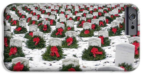 Headstones iPhone Cases - Christmas Wreaths Adorn Headstones iPhone Case by Stocktrek Images