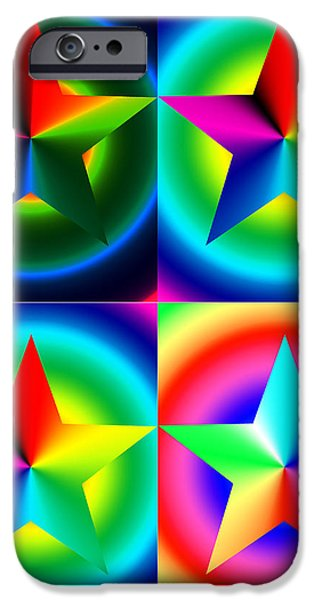 Chromatic Star Quartet with Ring Gradients iPhone Case by Eric Edelman