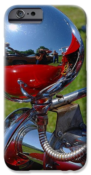 Automotive Pyrography iPhone Cases - Chrome headlight iPhone Case by Claude Prud
