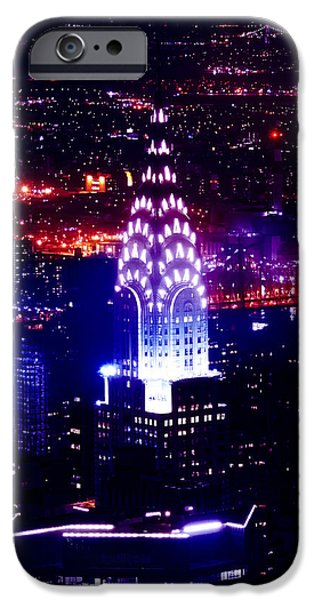 Art Of Building iPhone Cases - Chrysler Building At Night iPhone Case by Az Jackson