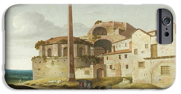 Horse And Buggy iPhone Cases - Church Of Santa Maria Della Febbre - Rome iPhone Case by Pieter Jansz Saenredam