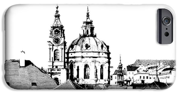 Prague Digital iPhone Cases - Church of St Nikolas iPhone Case by Michal Boubin