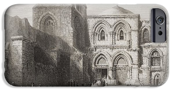 Sepulchre Drawings iPhone Cases - Church Of The Holy Sepulchre iPhone Case by Vintage Design Pics