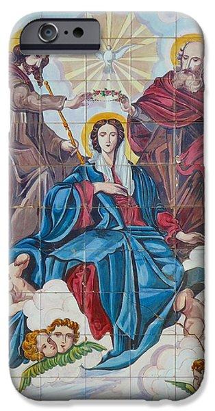 Religious Ceramics iPhone Cases - Church Tile Work iPhone Case by Cati Simon