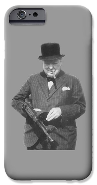 World Wars iPhone Cases - Churchill Posing With A Tommy Gun iPhone Case by War Is Hell Store