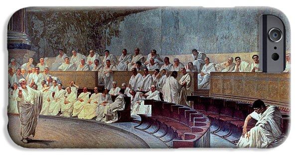 Roman iPhone Cases - Cicero iPhone Case by Cesare Maccari
