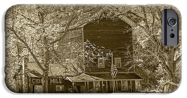 Brown Toned Art iPhone Cases - Cider Mill near Gun Lake in Sepia Tone iPhone Case by Randall Nyhof