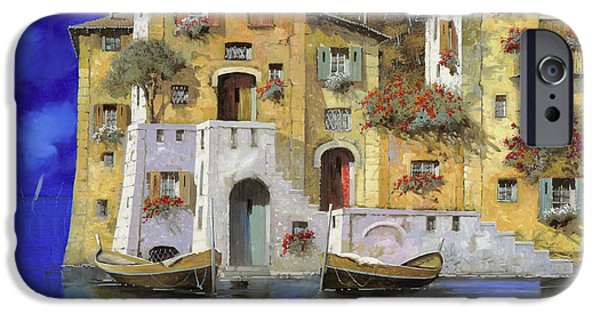 Lakescape iPhone Cases - Cieloblu iPhone Case by Guido Borelli