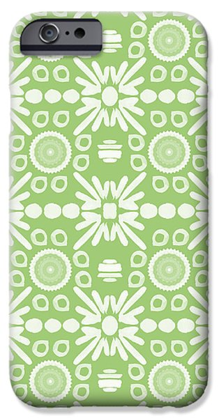 Corporate Art iPhone Cases - Cilantro- Green and White Art by Linda Woods iPhone Case by Linda Woods