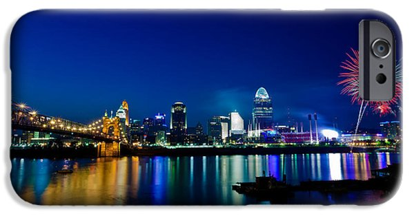 Fireworks Photographs iPhone Cases - Cincinnati Boom iPhone Case by Keith Allen