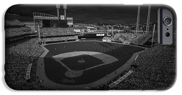 Baseball Stadiums iPhone Cases - Cincinnati Reds Great America Ballpark Creative 3 Black and White iPhone Case by David Haskett