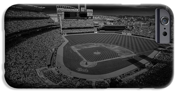 Baseball Stadiums iPhone Cases - Cincinnati Reds Great America Ballpark Creative 4 Black and White iPhone Case by David Haskett