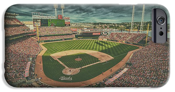 Baseball Stadiums iPhone Cases - Cincinnati Reds Great American Ballpark Creative 5 iPhone Case by David Haskett