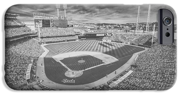 Baseball Stadiums iPhone Cases - Cincinnati Reds Great American Ballpark Creative 6 Black White iPhone Case by David Haskett