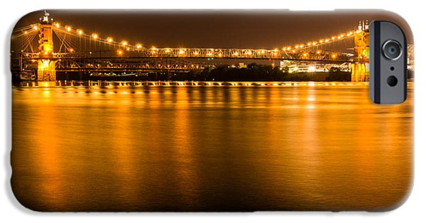 River View iPhone Cases - Cincinnati Roebling Bridge at Night iPhone Case by Paul Velgos