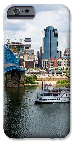 Steamboat iPhone Cases - Cincinnati Skyline Riverboat and Bridge iPhone Case by Paul Velgos
