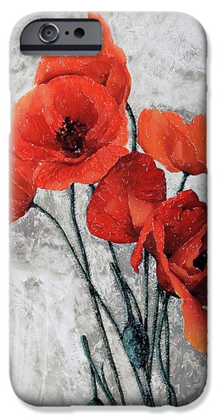 Poppies iPhone Cases - Cinque Papaveri iPhone Case by Guido Borelli