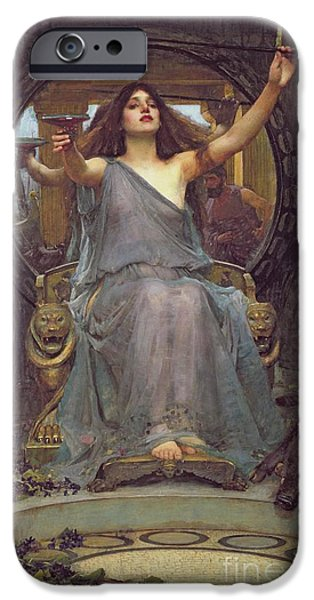 Witch iPhone Cases - Circe Offering the Cup to Ulysses iPhone Case by John Williams Waterhouse