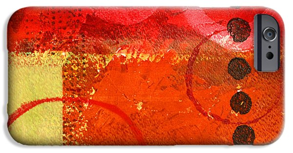 Tangerine Paintings iPhone Cases - Circle Movement iPhone Case by Nancy Merkle