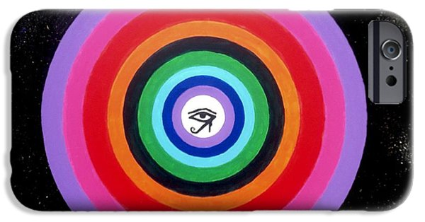 Horus Paintings iPhone Cases - Circle within the square iPhone Case by A