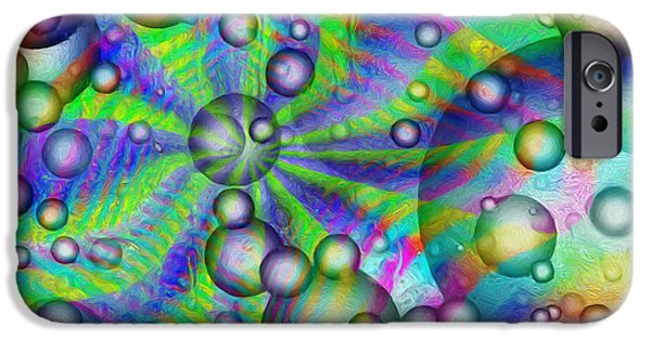 Abstract Digital Paintings iPhone Cases - Circles And Squares iPhone Case by Jack Zulli