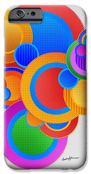 Abstract Digital iPhone Cases - Circles iPhone Case by Anthony Caruso