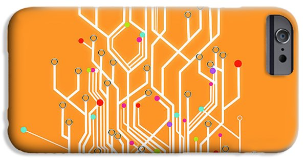 Abstract Digital Art iPhone Cases - Circuit Board Graphic iPhone Case by Setsiri Silapasuwanchai