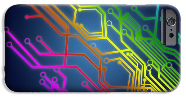 Abstract Digital Art iPhone Cases - Circuit Board iPhone Case by Setsiri Silapasuwanchai