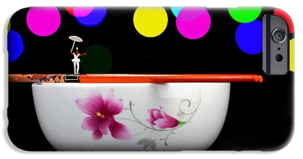 Pop Surrealism Digital iPhone Cases - Circus balance game on chopsticks iPhone Case by Paul Ge
