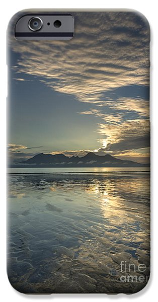 Inner Self Photographs iPhone Cases - Cirrocumulus Sunset over Rhum from Eigg iPhone Case by John Potter